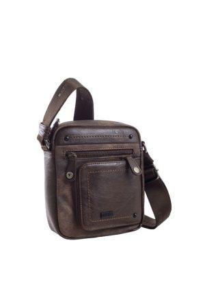 Bolso bandolera unisex rectangular con bolsillo de polipiel marrón