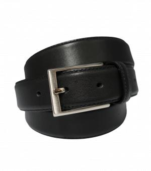 Cinturón de vestir clásico con hebilla plateada mate negro