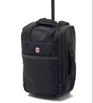 Bolsa mochila de viaje tipo trolley de cabina Gladiator con departamento para portatil con dos ruedas de nylon negro