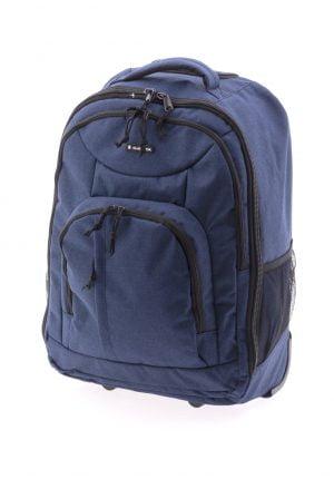 Maleta mochila deportiva blanda tipo trolley Galdiator con dos ruedas de nylon tejano marino