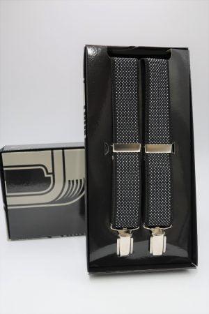 Tirante estampado con puntitos de cuatro clips negro
