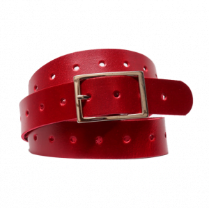 Cinturón con agujeros centrales de piel lisa rojo