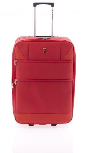 Maleta extensible mediana ligera de nylon con dos ruedas y cierre de combinación rojo