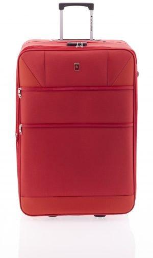 Maleta extensible grande ligera de nylon con dos ruedas y cierre de combinación rojo