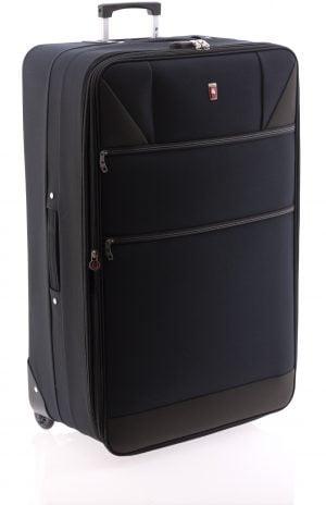 Maleta extensible extra grande ligera de nylon con dos ruedas y cierre de combinación negro