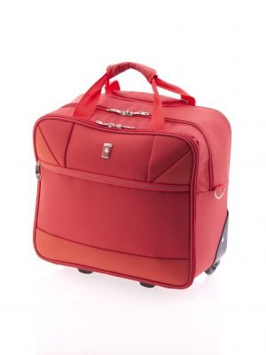 Bolsa de viaje tipo trolley de nylon con dos ruedas rojo
