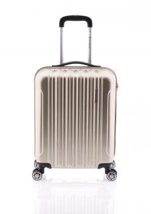 Maleta de cabina ligera brillante tipo trolley con cuatro ruedas y cierre TSA oro
