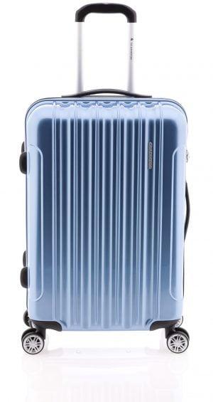 Maleta mediana ligera brillante tipo trolley con cuatro ruedas y cierre TSA azul hielo