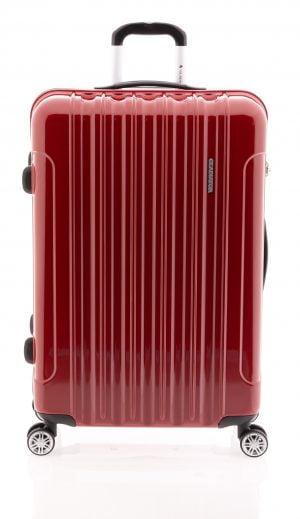 Maleta grande ligera brillante tipo trolley con cuatro ruedas y cierre TSA rojo