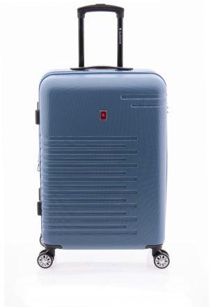 Maleta mediana extensible tipo trolley Gladiator de cuatro ruedas y cierre TSA azul