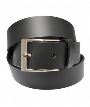 Cinturón de piel liso con hebilla rectangular mate negro