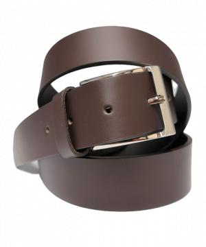 Cinturón de piel liso con hebilla rectangular mate marrón