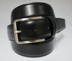 Cinturón de vestir con pespunte de piel negro