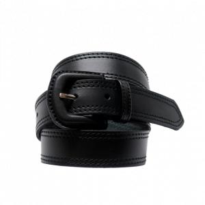 Cinturón de piel lisa con doble pespunte y hebilla forrada negro