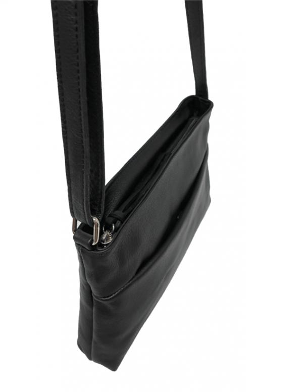 Bolso bandolera pequeño con cremallera de piel negro