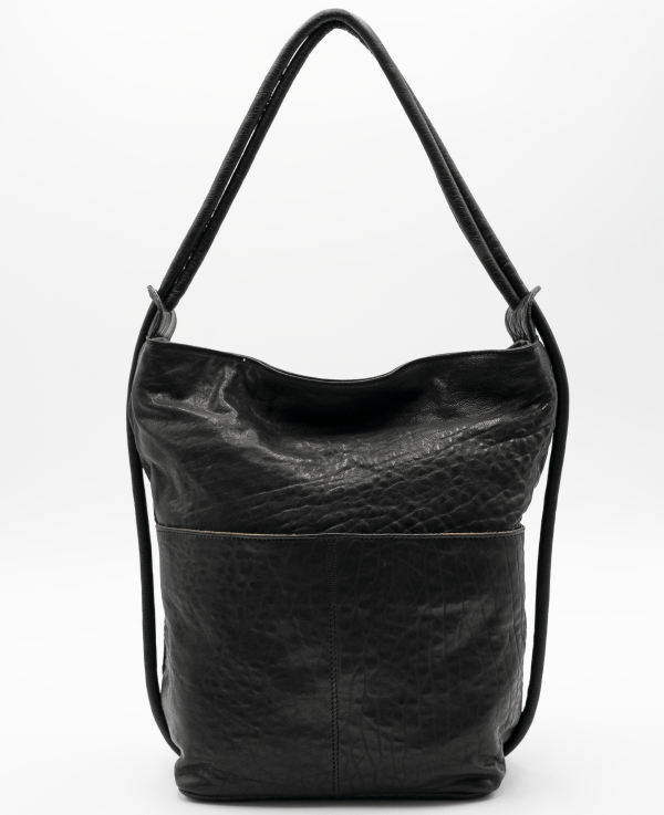 Bolso mochila grande piel grabada bolsillo negro