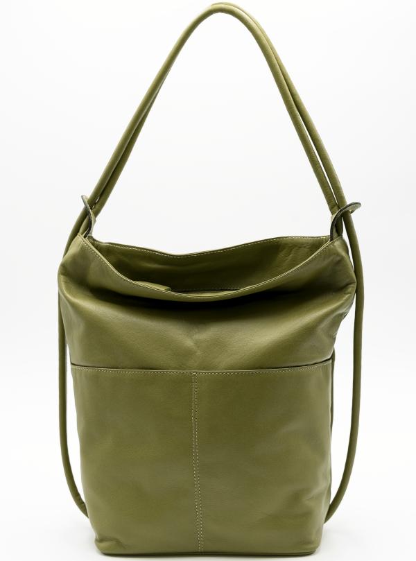Bolso mochila grande piel bolsillo verde oliva