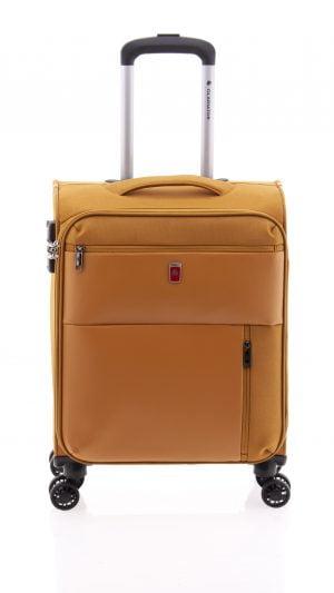 Maleta de cabina ligera tipo trolley con cuatro ruedas de nylon impermeable y cierre TSA mostaza