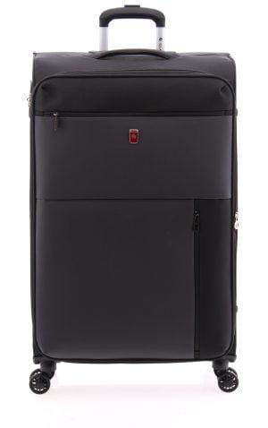 Maleta extensible grande negro ligera tipo trolley con cuatro ruedas de nylon impermeable y cierre TSA negro