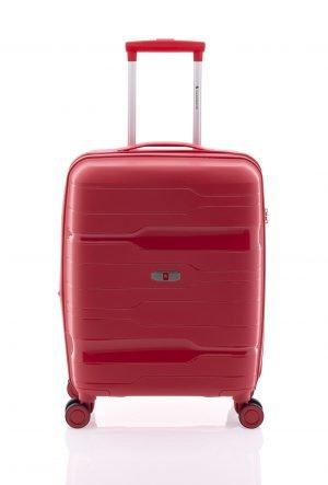 Maleta de cabina ligera rígida tipo trolley Gladiator con cuatro ruedas y cierre TSA rojo