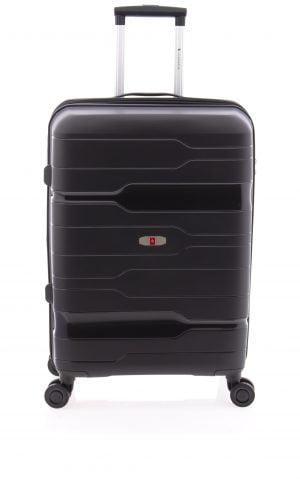 Maleta mediana extensible ligera Gladiator con cuatro ruedas y cierre TSA negro