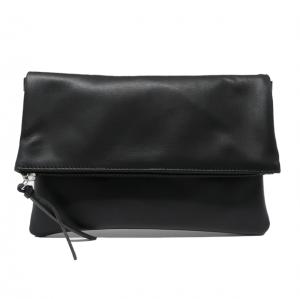 Bolso cartera de mano y bandolera con solapa de piel negro