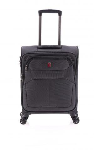 Maleta ligera de cabina tipo trolley de nylon con cuatro ruedas y cierre TSA negro