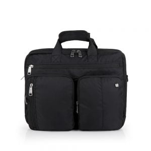 Cartera portadocumentos para portátil y tablet con bolsillos de nylon negro