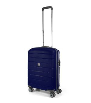 Maleta ligera de polipropileno de cabina tipo trolley con cuatro ruedas y cierre TSA Modo de Roncato azul marino