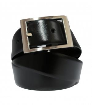 Cinturón de piel liso reversible negro y marrón con hebilla rectangular