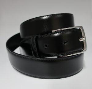 Cinturón de vestir de piel lisa negro