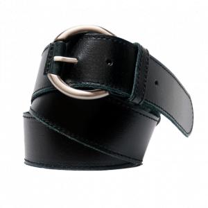 Cinturón de piel con pespuntes y hebilla redonda negro