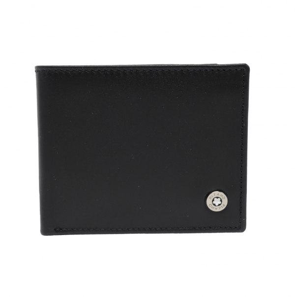 Cartera americana de piel con portamonedas y protección RFID negro
