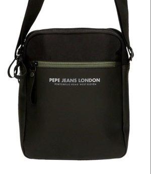 Bolso bandolera Pepe Jeans con cremallera de nylon combinado con sintético negro tablet