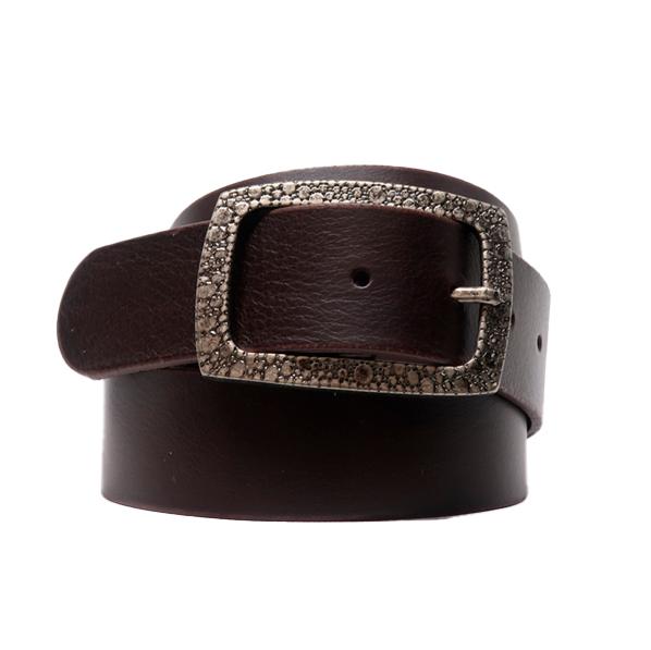 Cinturón sport de piel con hebilla rectangular grabada marrón oscuro