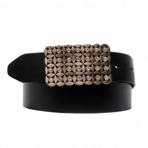 Cinturón con hebilla tipo chapa con pedrería de piel negro