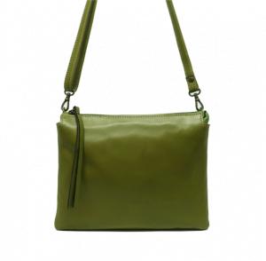 Bolso bandolera pequeño plano de piel con dos departamentos López Moreno verde oliva