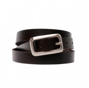 Cinturón de piel liso con hebilla rectangular plateada mate marrón oscuro