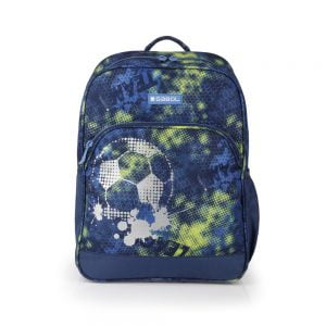 Mochila escolar Gabol estampada fútbol azul marino