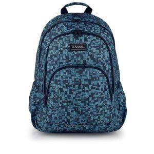 Mochila escolar Gabol estampada cuadritos con departamentos azul