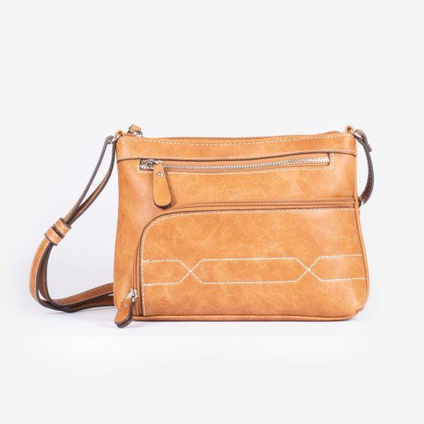 Bolso bandolera pequeño con bolsillos cremallera de polipiel cuero