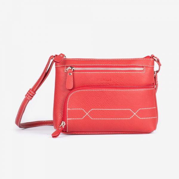 Bolso bandolera pequeño con bolsillos cremallera de polipiel rojo