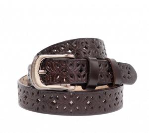 Cinturón calado de piel marrón oscuro