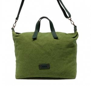 Bolso de mano con bandolera de lona y piel Cuirot´s verde oliva
