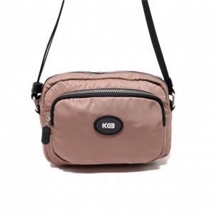 Bolso bandolera pequeño con bolsillo de nylon vegano KCB taupe