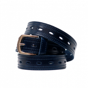 Cinturón de piel con agujeros centrales y hebilla plateada azul