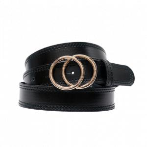 Cinturón de piel con hebilla doble circunferencia negro