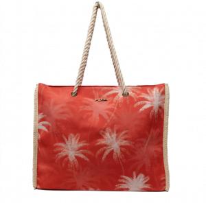 Bolsa de playa estampada palmeras naranja