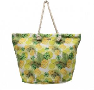 Bolsa de playa estampada piñas amarilla