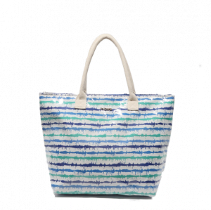 Bolsa de playa plastificada rayas blanca azul